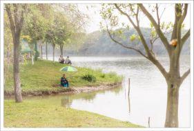 水韵公园的钓鱼人